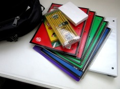 school supplies, pencils, notebooks
